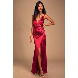 Lulus Ever Encharted Dark Red Satin Maxi Dress